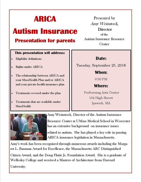Autism Insurance Arica And Health >> Arica Autism Insurance Presentation Tuesday September 25 2018